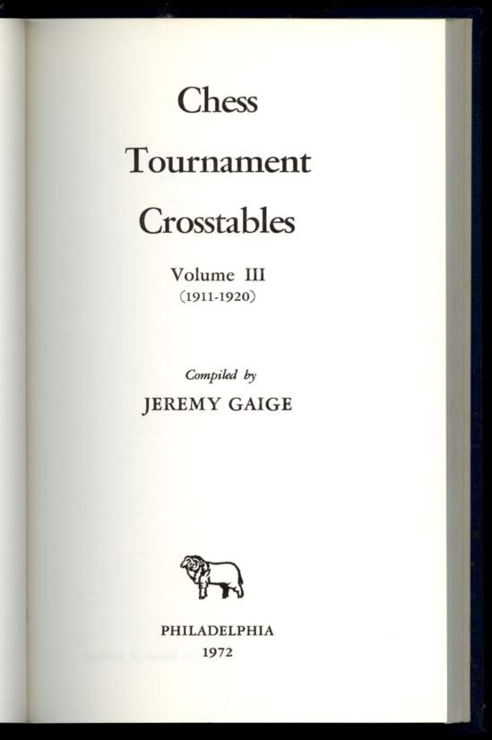 Chess Tournament Crosstables, Volume III (1911-1920)