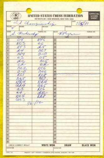 1981 United States Chess Championship and Zonal Qualifier (Score Sheet)