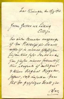 Letter to Gustaf and Ludvig Collijn