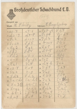 Salzburg International Chess Tournament 1942 (Score Sheet)