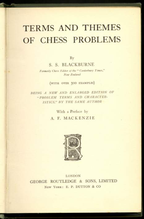 Terms and Themes of Chess Problems